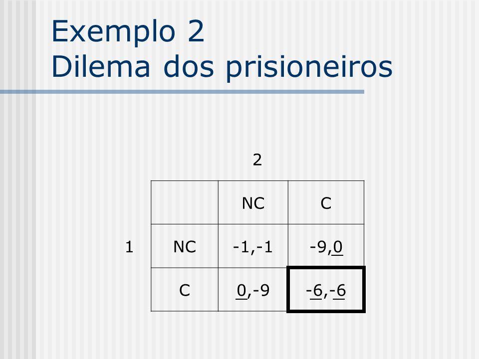 Exemplo 2 Dilema dos prisioneiros