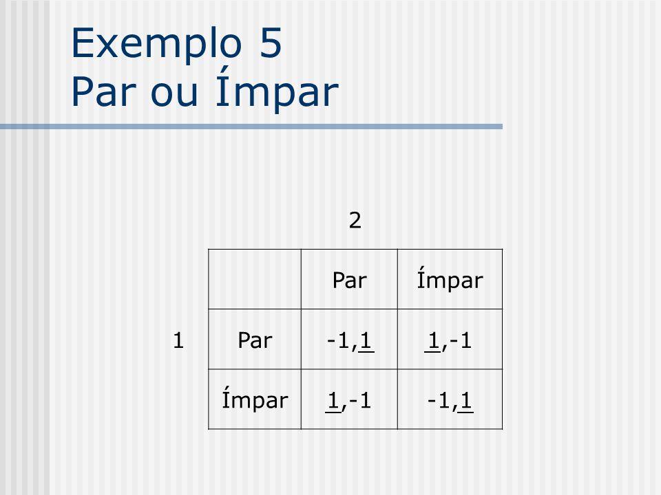 Exemplo 5 Par ou Ímpar 2 1 Par Ímpar -1,1 1,-1
