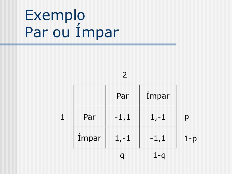 Exemplo Par ou Ímpar 2 1 Par Ímpar -1,1 1,-1 p 1-p q 1-q