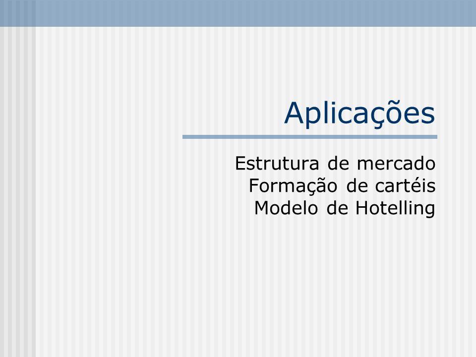 Estrutura de mercado Formação de cartéis Modelo de Hotelling