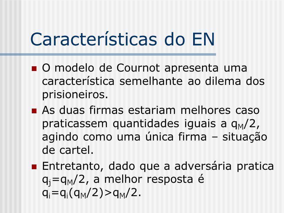 Características do EN O modelo de Cournot apresenta uma característica semelhante ao dilema dos prisioneiros.