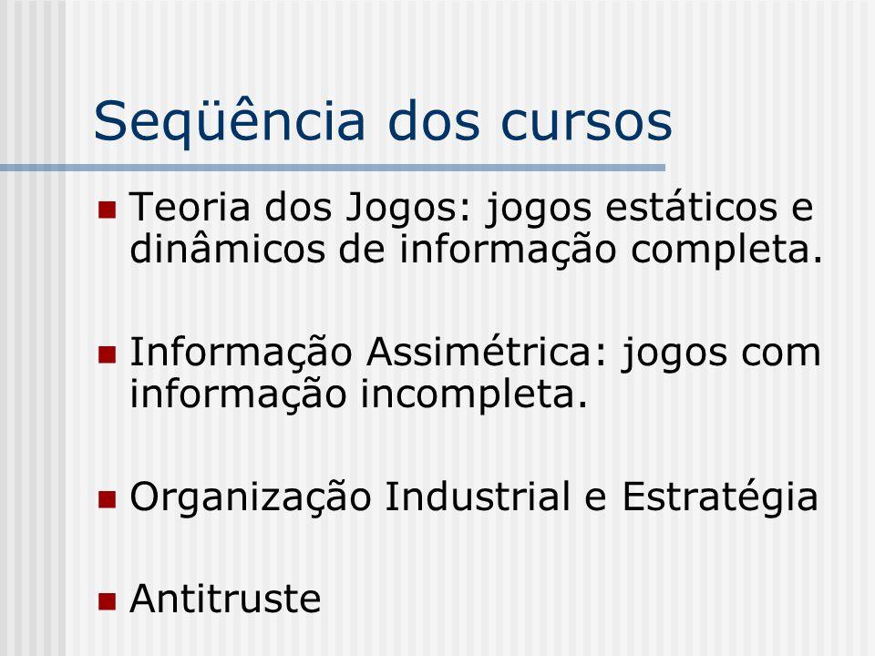 Seqüência dos cursos Teoria dos Jogos: jogos estáticos e dinâmicos de informação completa. Informação Assimétrica: jogos com informação incompleta.