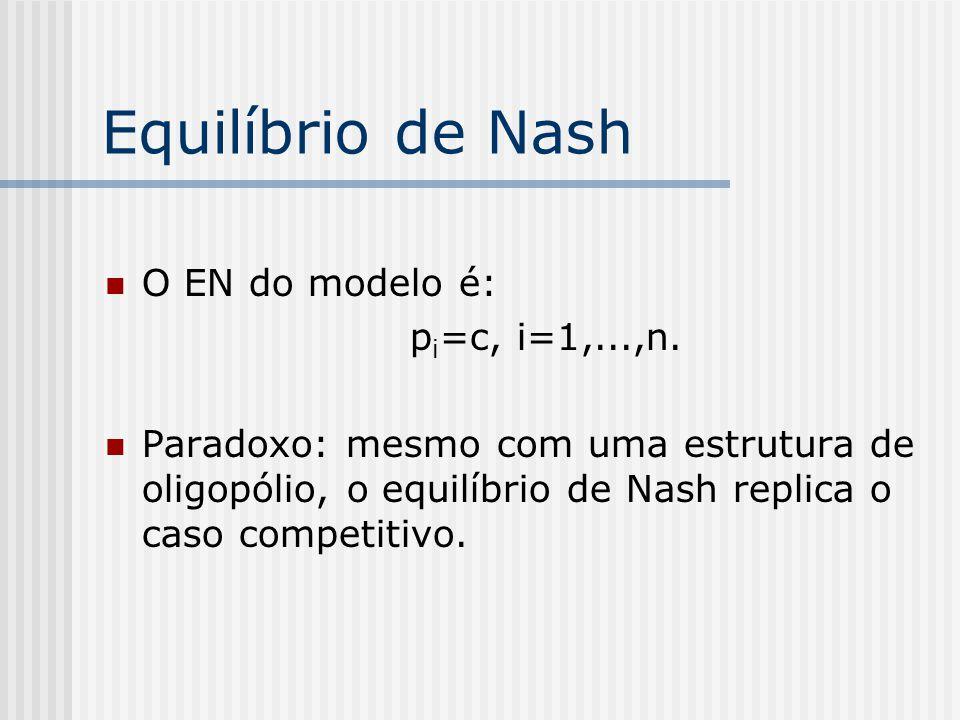 Equilíbrio de Nash O EN do modelo é: pi=c, i=1,...,n.