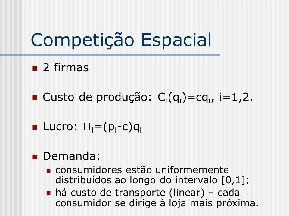 Competição Espacial 2 firmas Custo de produção: Ci(qi)=cqi, i=1,2.