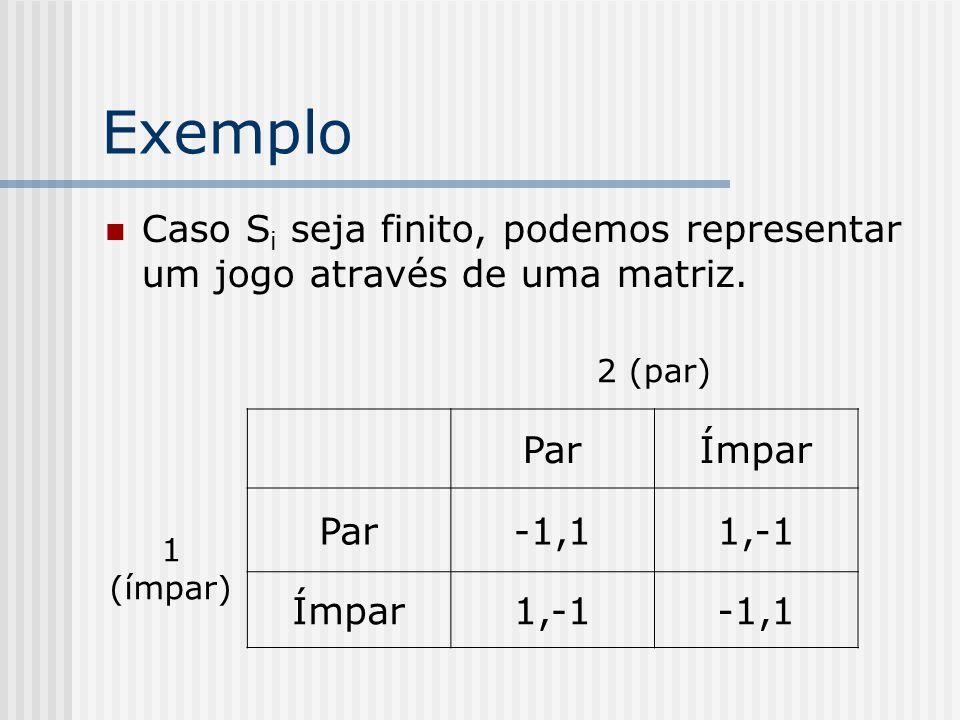 Exemplo Caso Si seja finito, podemos representar um jogo através de uma matriz. 2 (par) Par. Ímpar.