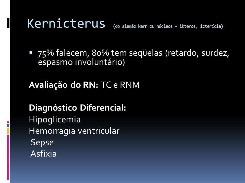 Kernicterus (do alemão kern ou núcleos + ikteros, icterícia)