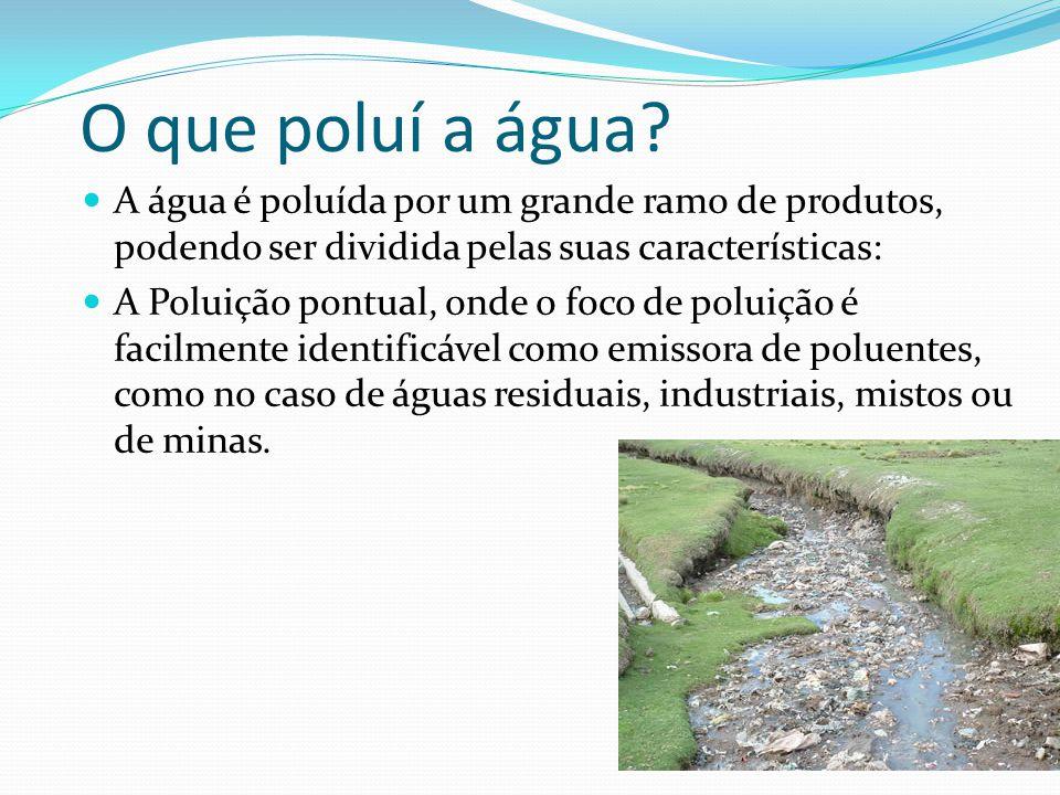 O que poluí a água A água é poluída por um grande ramo de produtos, podendo ser dividida pelas suas características: