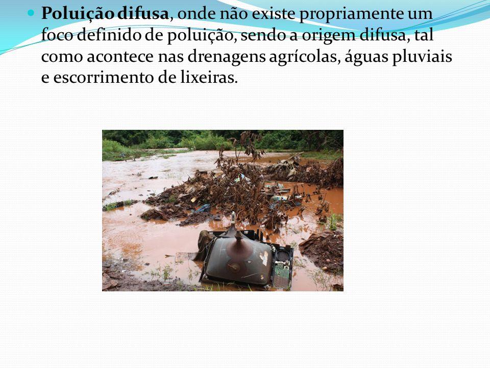 Poluição difusa, onde não existe propriamente um foco definido de poluição, sendo a origem difusa, tal como acontece nas drenagens agrícolas, águas pluviais e escorrimento de lixeiras.