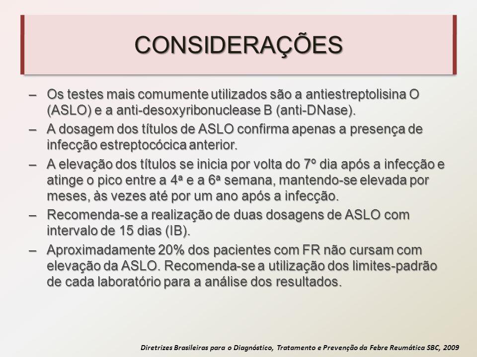 CONSIDERAÇÕES Os testes mais comumente utilizados são a antiestreptolisina O (ASLO) e a anti-desoxyribonuclease B (anti-DNase).