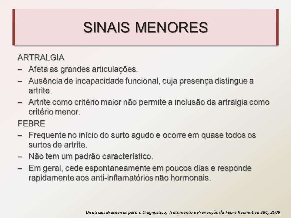 SINAIS MENORES ARTRALGIA Afeta as grandes articulações.
