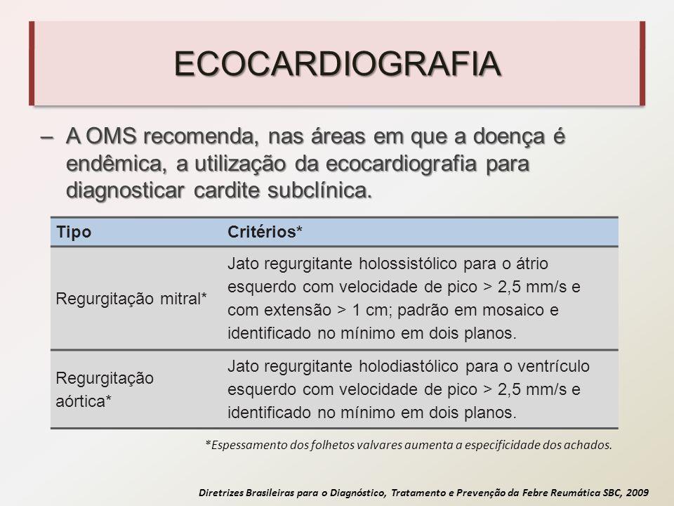 ECOCARDIOGRAFIA A OMS recomenda, nas áreas em que a doença é endêmica, a utilização da ecocardiografia para diagnosticar cardite subclínica.