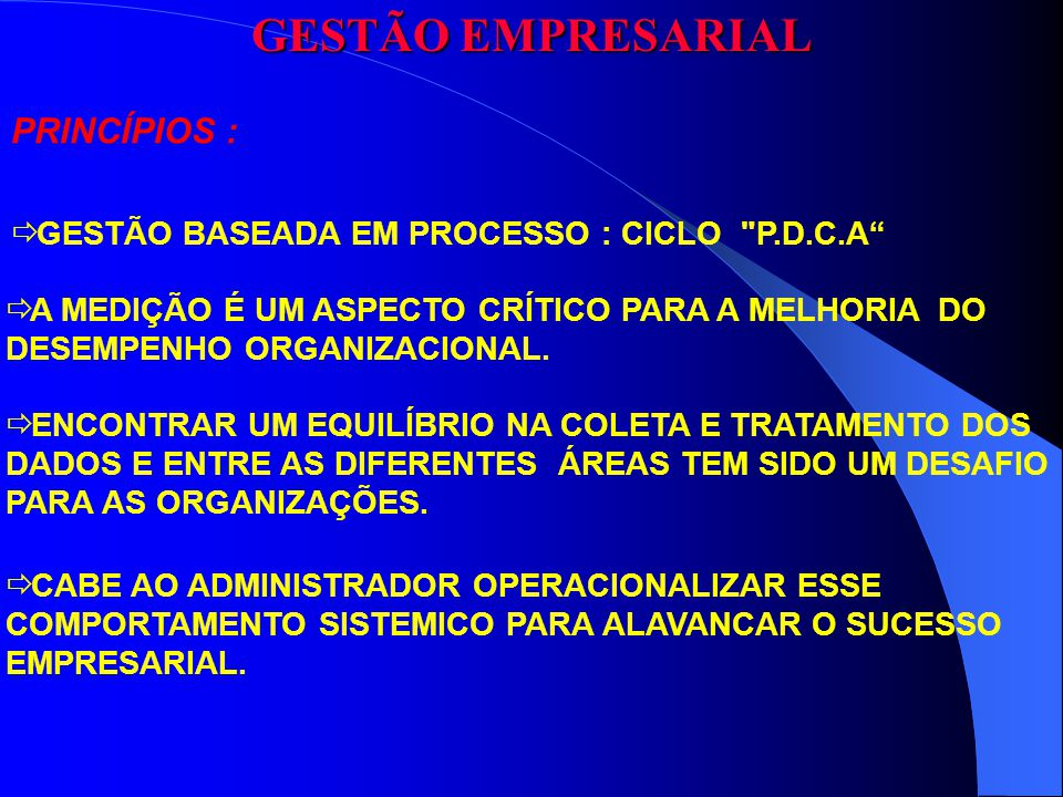 GESTÃO EMPRESARIAL PRINCÍPIOS :