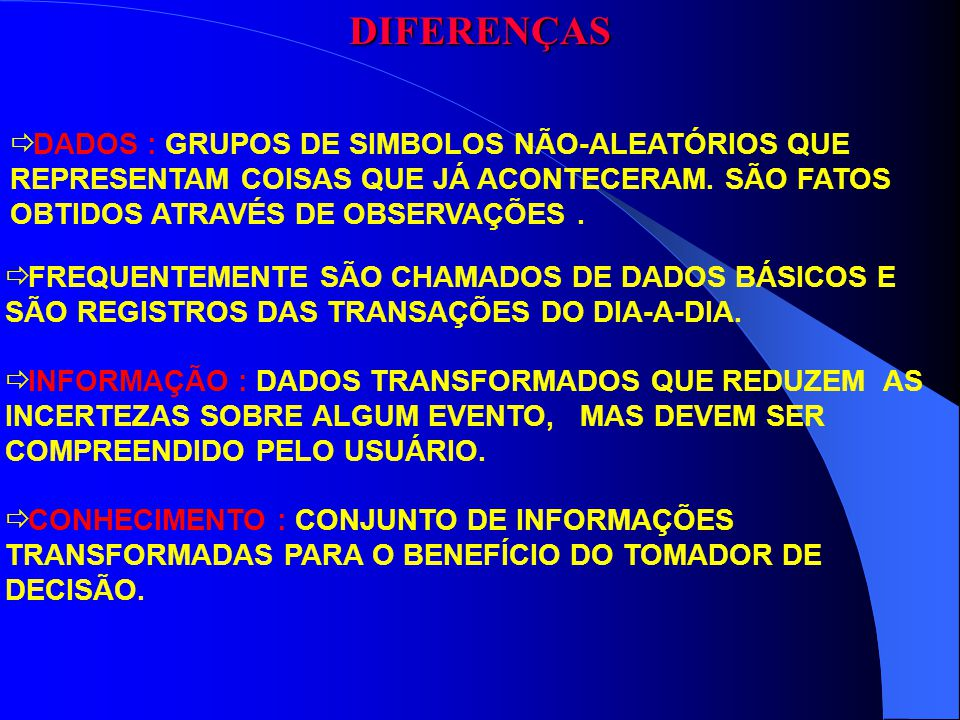 DIFERENÇAS DADOS : GRUPOS DE SIMBOLOS NÃO-ALEATÓRIOS QUE REPRESENTAM COISAS QUE JÁ ACONTECERAM. SÃO FATOS OBTIDOS ATRAVÉS DE OBSERVAÇÕES .