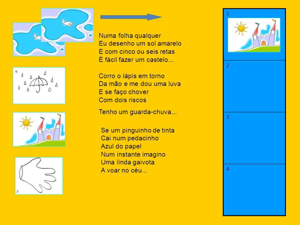 1 2. 3. 4. Numa folha qualquer Eu desenho um sol amarelo E com cinco ou seis retas É fácil fazer um castelo...