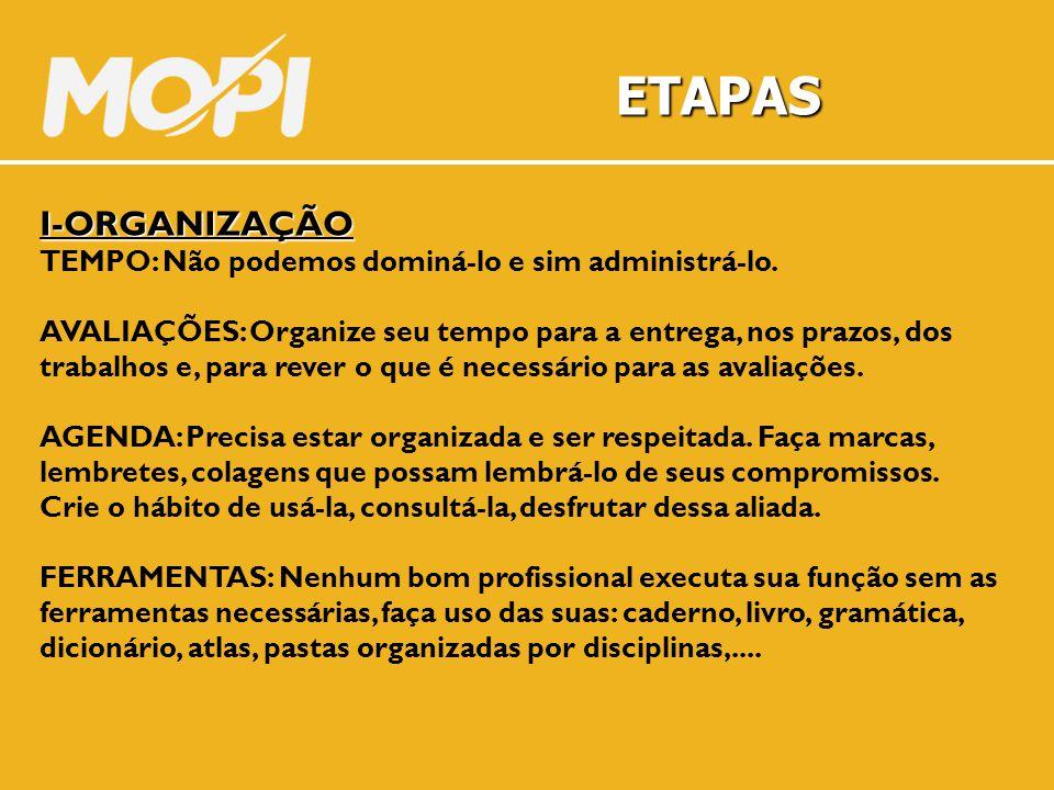 ETAPAS I-ORGANIZAÇÃO TEMPO: Não podemos dominá-lo e sim administrá-lo.