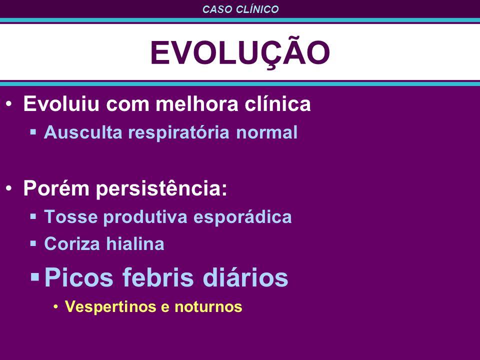 EVOLUÇÃO Picos febris diários Evoluiu com melhora clínica