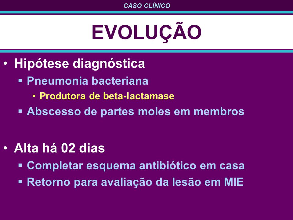 EVOLUÇÃO Hipótese diagnóstica Alta há 02 dias Pneumonia bacteriana