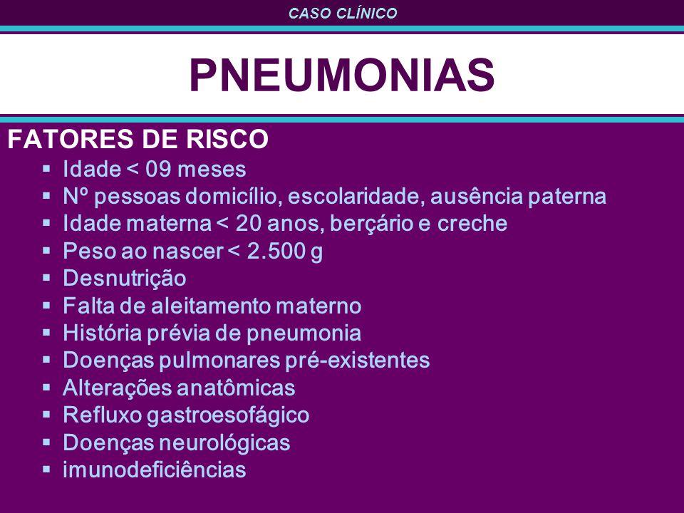 PNEUMONIAS FATORES DE RISCO Idade < 09 meses