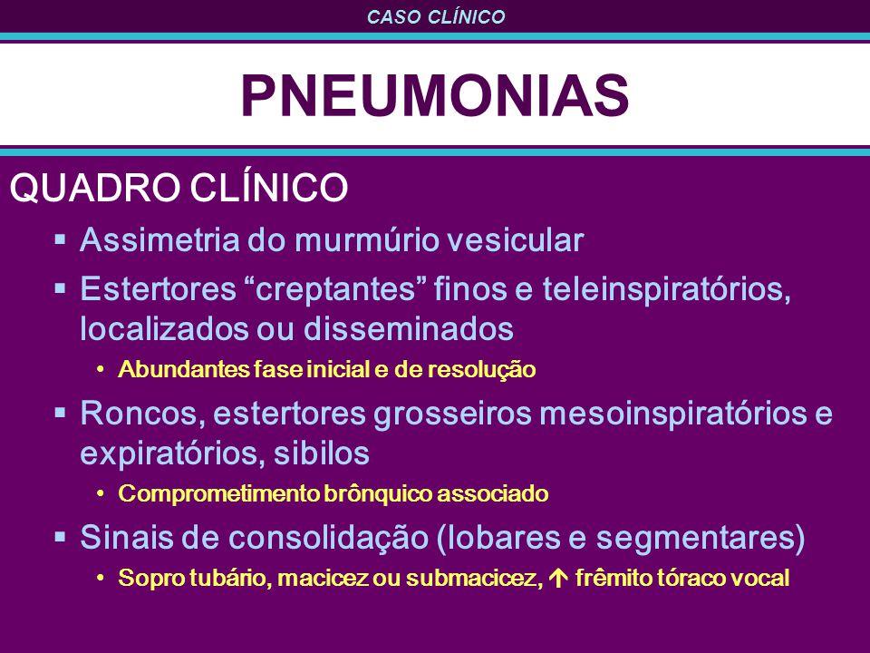 PNEUMONIAS QUADRO CLÍNICO Assimetria do murmúrio vesicular