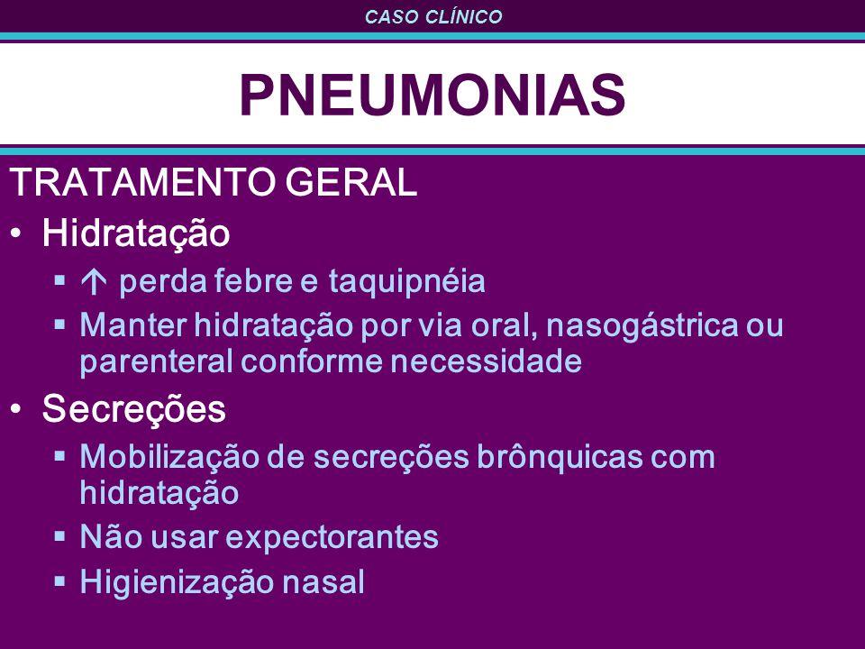 PNEUMONIAS TRATAMENTO GERAL Hidratação Secreções