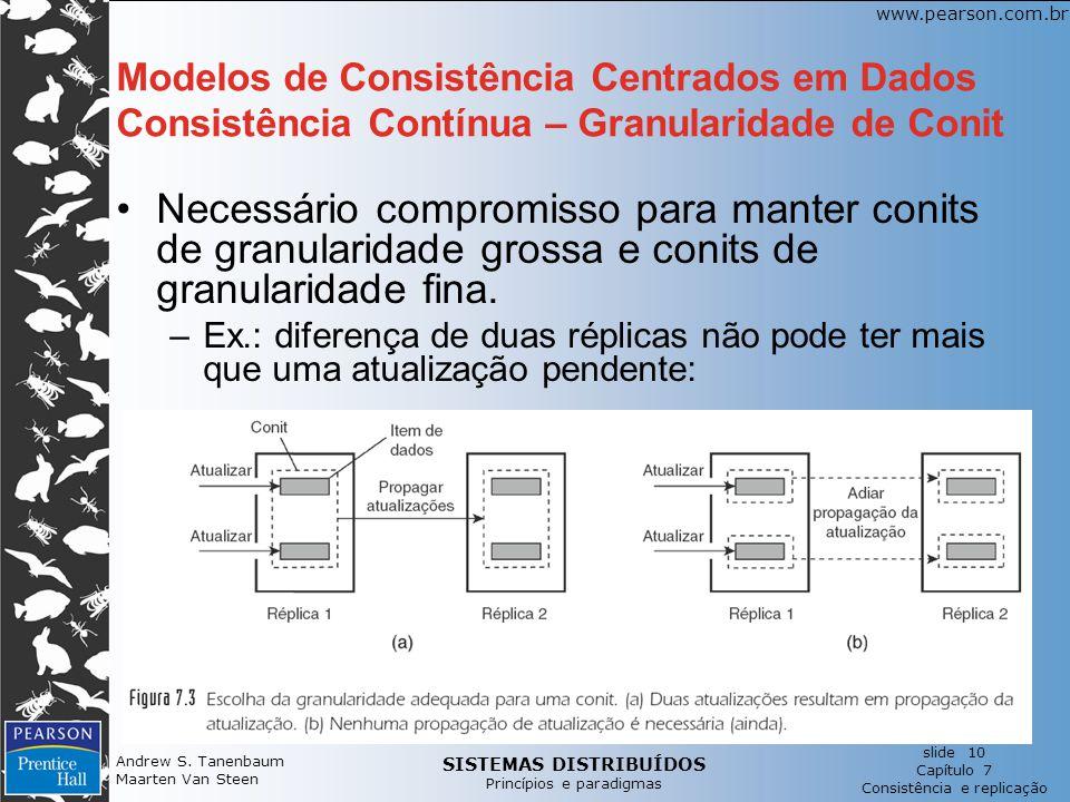 Modelos de Consistência Centrados em Dados Consistência Contínua – Granularidade de Conit