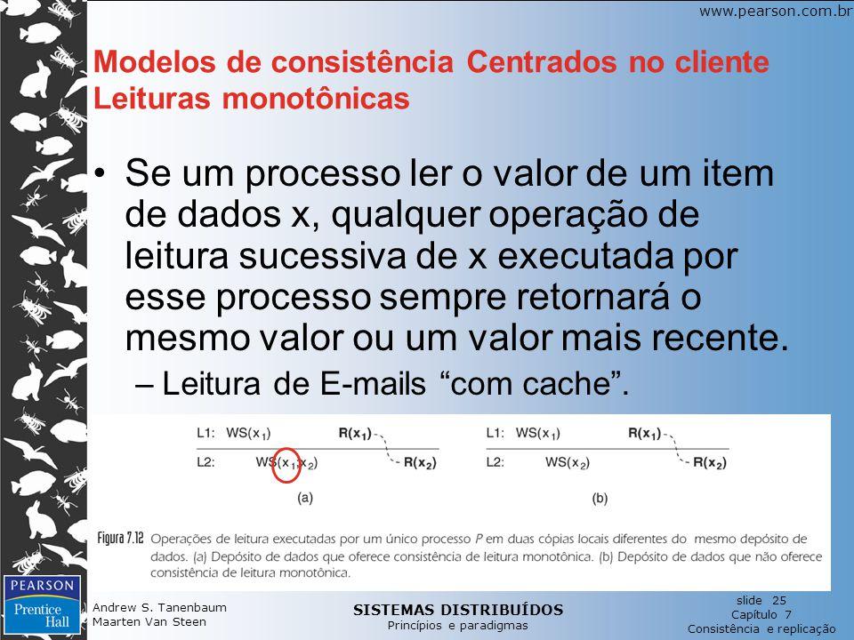 Modelos de consistência Centrados no cliente Leituras monotônicas