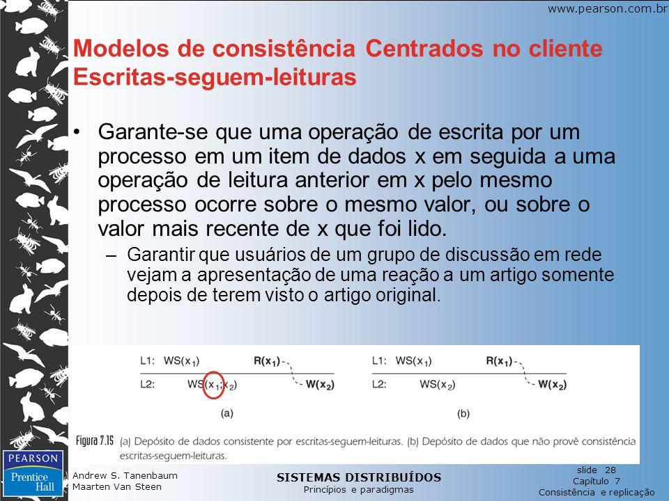 Modelos de consistência Centrados no cliente Escritas-seguem-leituras