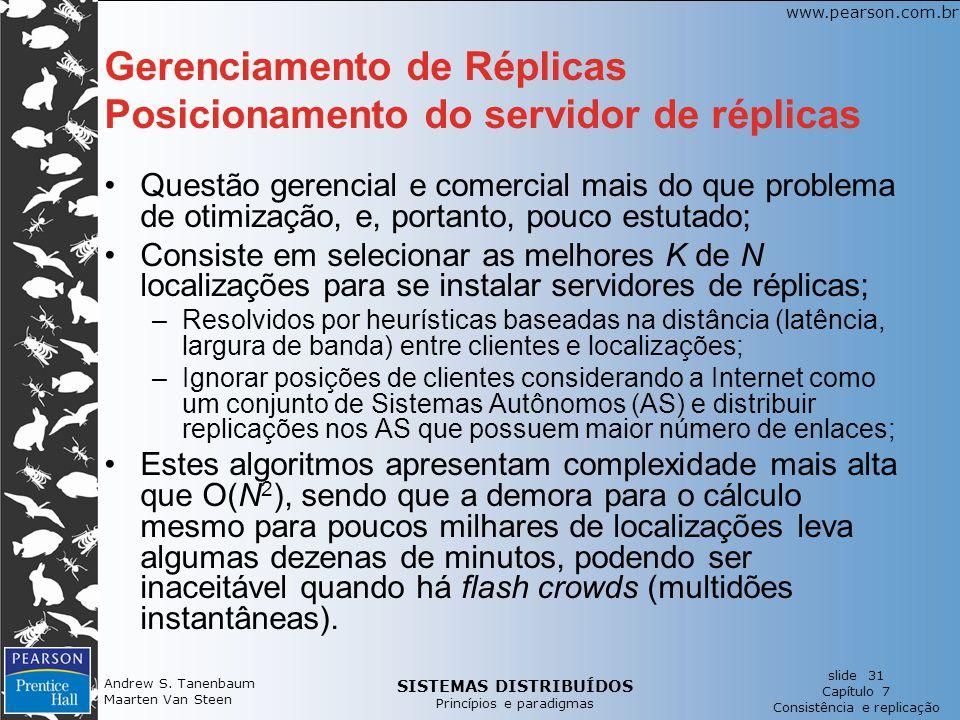 Gerenciamento de Réplicas Posicionamento do servidor de réplicas