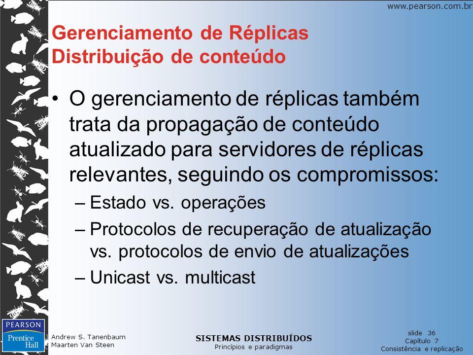 Gerenciamento de Réplicas Distribuição de conteúdo