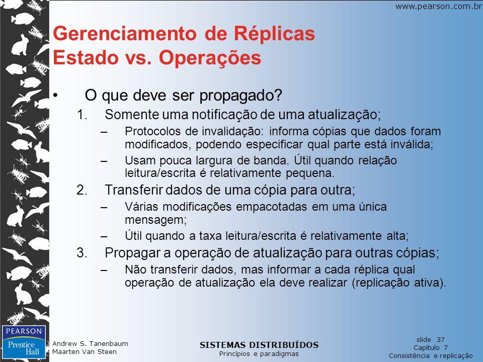 Gerenciamento de Réplicas Estado vs. Operações