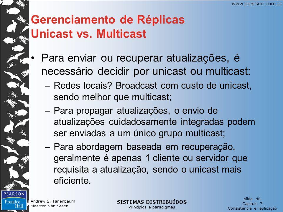 Gerenciamento de Réplicas Unicast vs. Multicast
