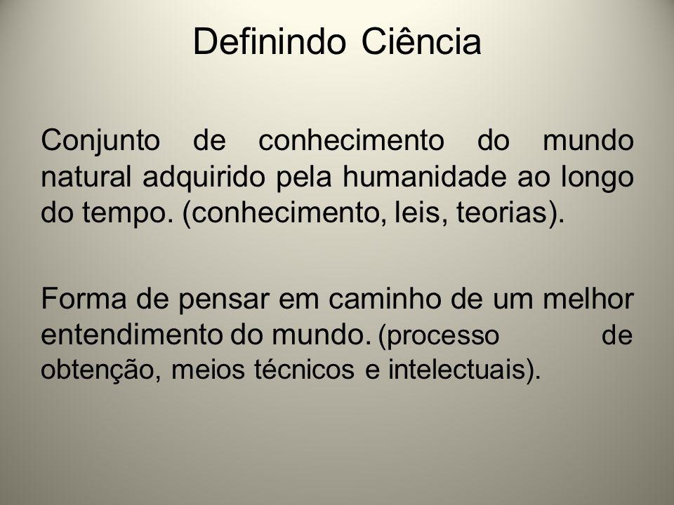 Definindo Ciência Conjunto de conhecimento do mundo natural adquirido pela humanidade ao longo do tempo. (conhecimento, leis, teorias).