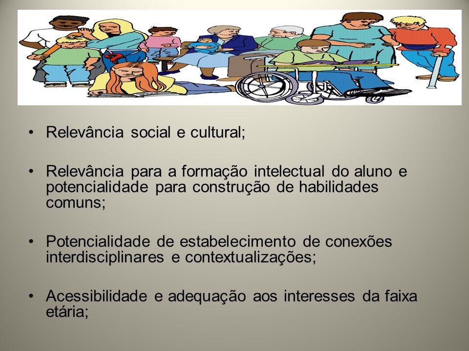 Relevância social e cultural;