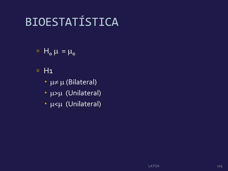 BIOESTATÍSTICA H0  = 0 H1   (Bilateral) > (Unilateral)