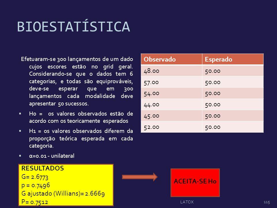 BIOESTATÍSTICA Observado Esperado 48.00 50.00 57.00 54.00 44.00 45.00