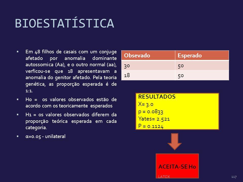 BIOESTATÍSTICA Obsevado Esperado 30 50 18 RESULTADOS X= 3.0 p = 0.0833