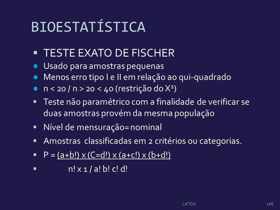 BIOESTATÍSTICA TESTE EXATO DE FISCHER Usado para amostras pequenas