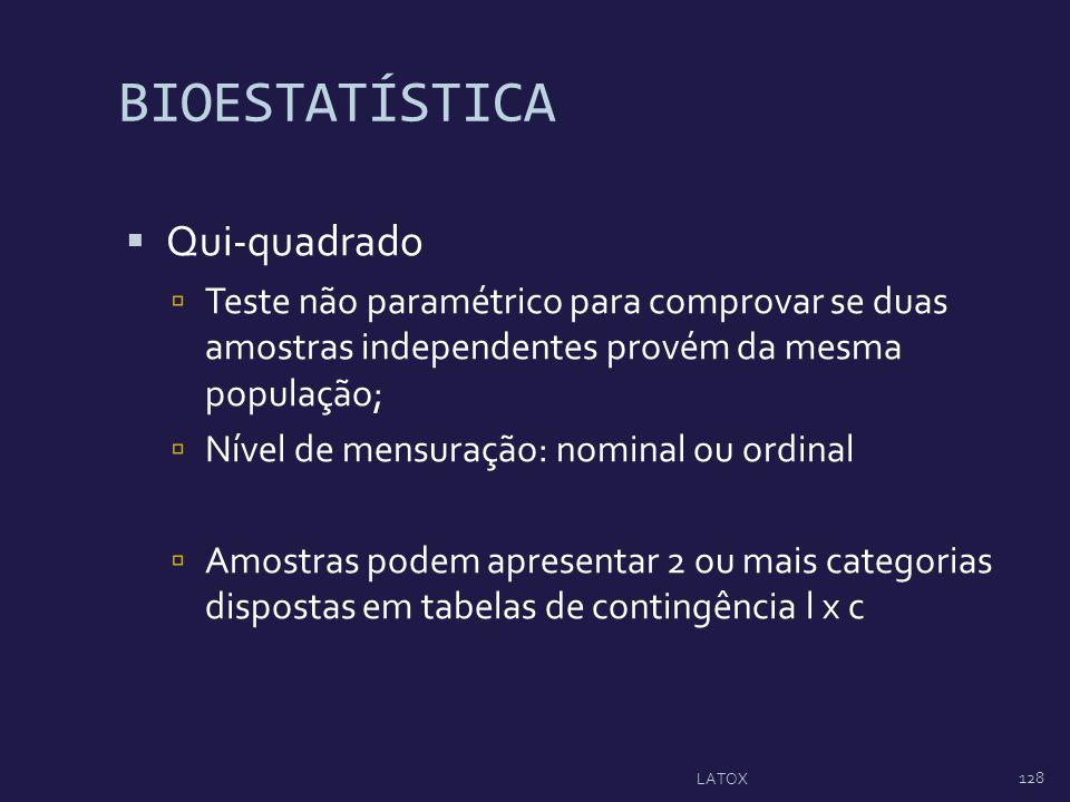 BIOESTATÍSTICA Qui-quadrado