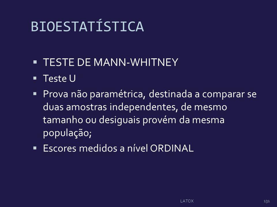 BIOESTATÍSTICA TESTE DE MANN-WHITNEY Teste U