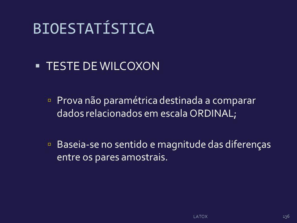 BIOESTATÍSTICA TESTE DE WILCOXON