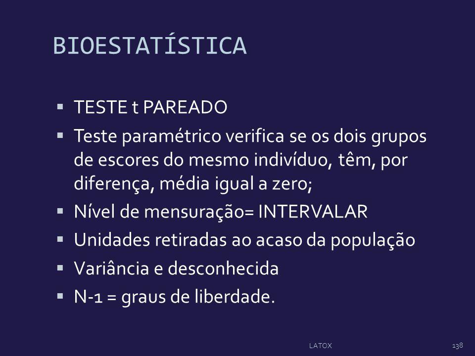 BIOESTATÍSTICA TESTE t PAREADO