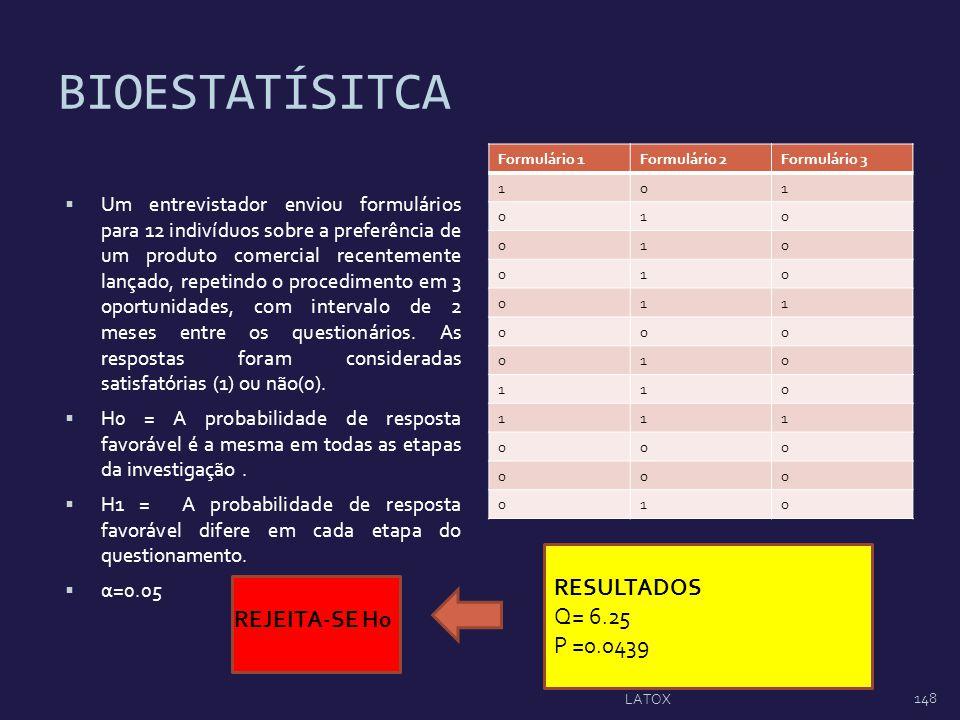 BIOESTATÍSITCA RESULTADOS Q= 6.25 P =0.0439 REJEITA-SE H0