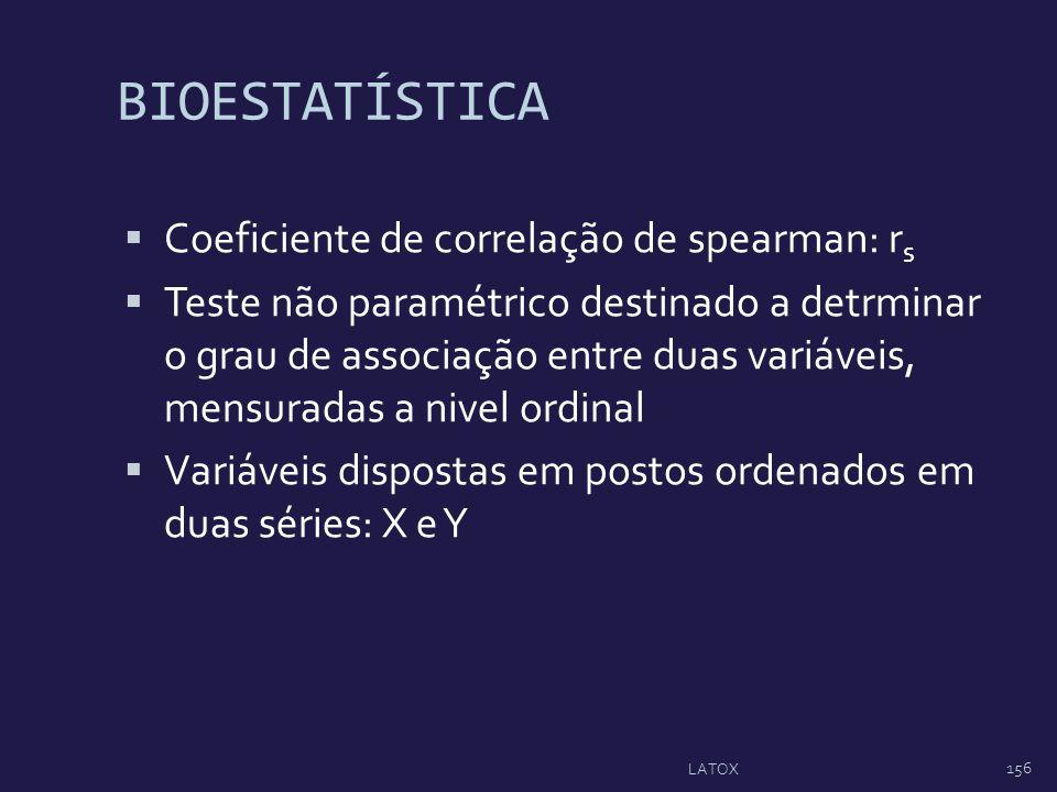 BIOESTATÍSTICA Coeficiente de correlação de spearman: rs