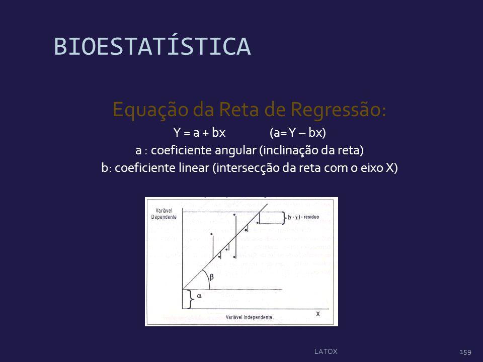 BIOESTATÍSTICA Equação da Reta de Regressão: Y = a + bx (a= Y – bx)