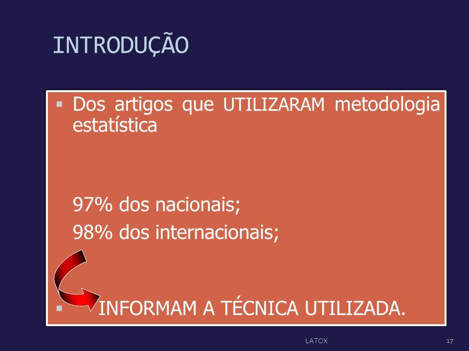 INTRODUÇÃO Dos artigos que UTILIZARAM metodologia estatística