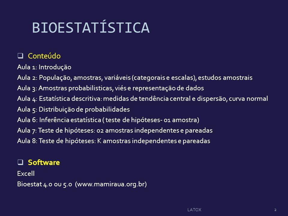 BIOESTATÍSTICA Conteúdo Software Aula 1: Introdução