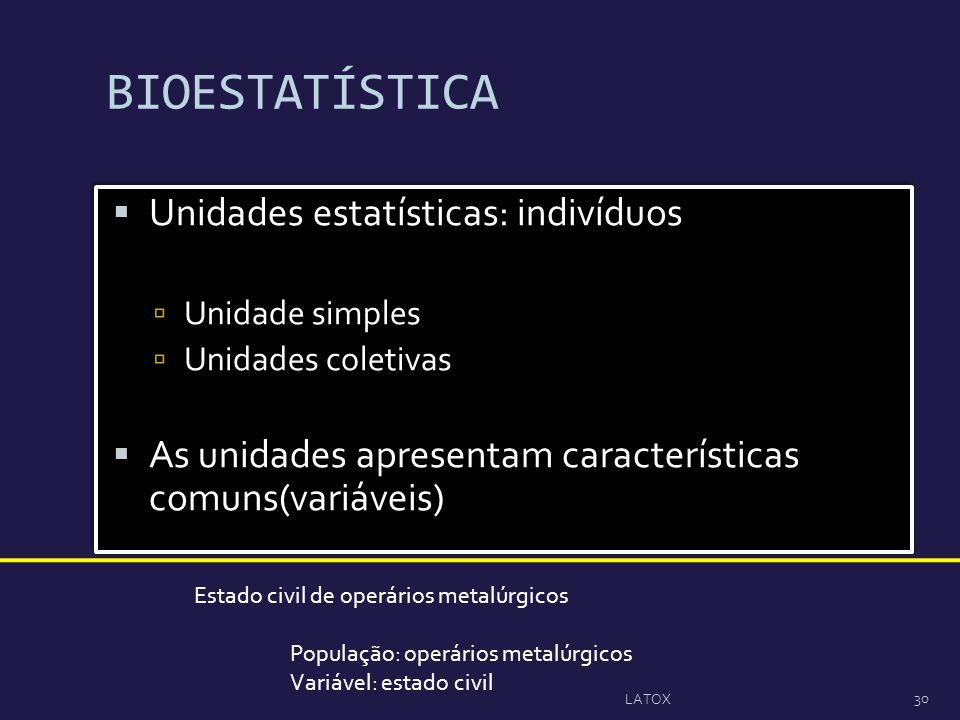 BIOESTATÍSTICA Unidades estatísticas: indivíduos
