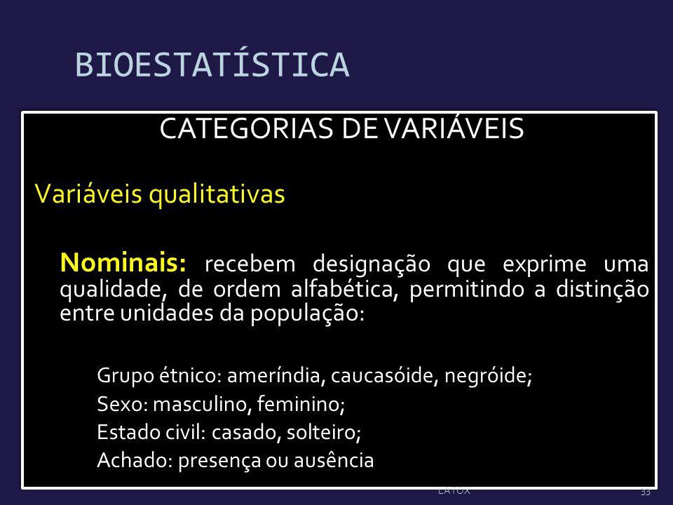 CATEGORIAS DE VARIÁVEIS
