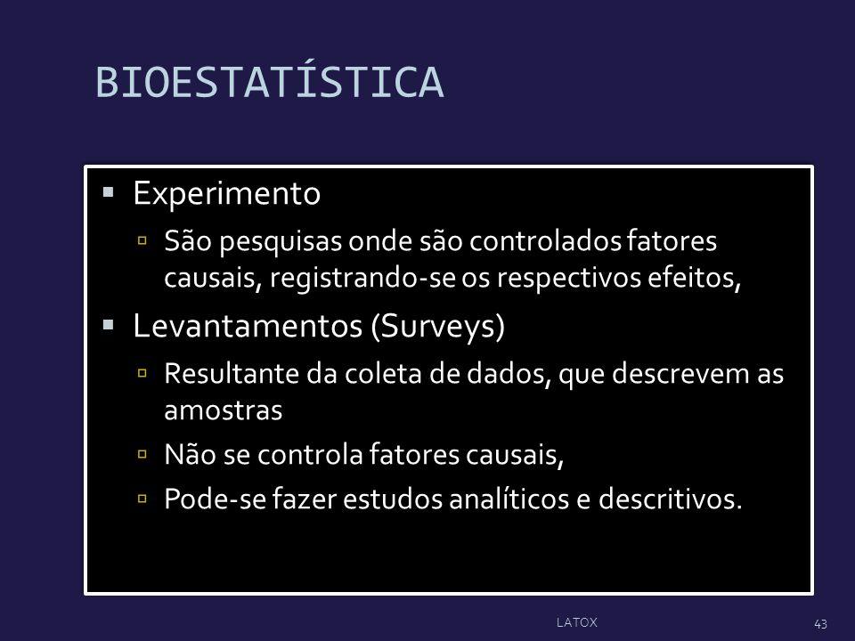BIOESTATÍSTICA Experimento Levantamentos (Surveys)