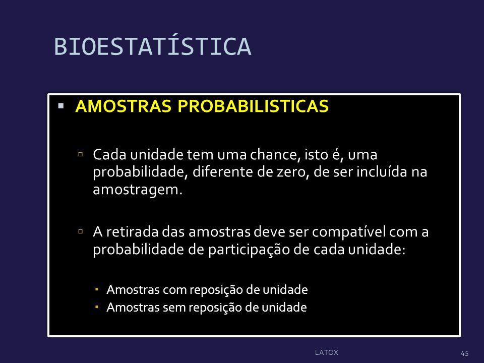 BIOESTATÍSTICA AMOSTRAS PROBABILISTICAS